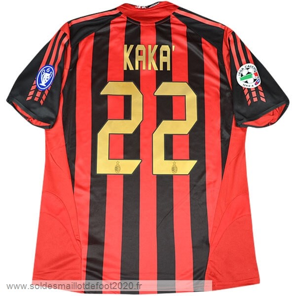 Maillot France Foot NO.22 kaka Domicile Maillot AC Milan Rétro 2005 2006 Rouge