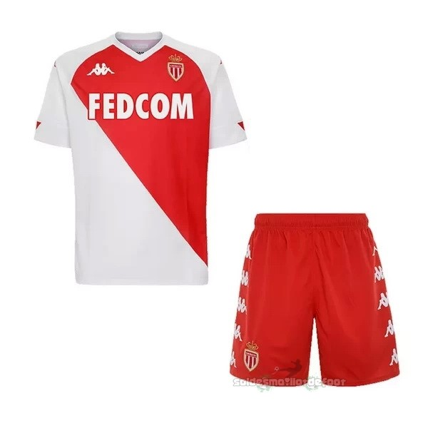 Maillot France Foot Domicile Conjunto De Enfant AS Monaco 2020 2021 Blanc Rouge