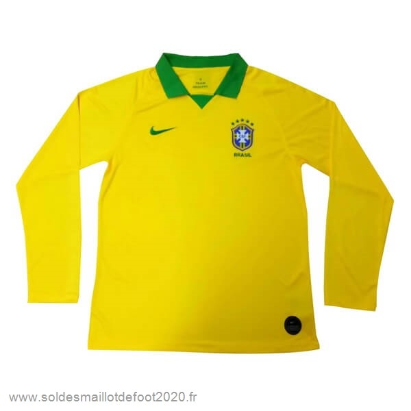 Maillot France Foot Domicile Manches Longues Brasil 2019 Jaune