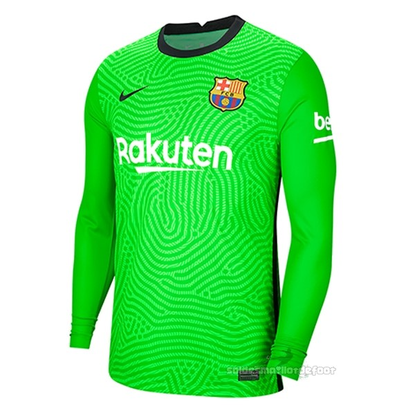 Maillot France Foot Gardien Manches Longues Barcelone 2020 2021 Vert