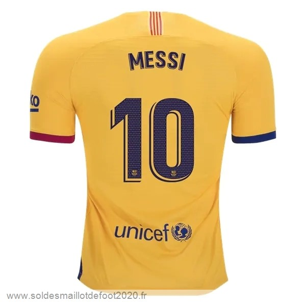Maillot France Foot NO.10 Messi Exterieur Maillot Barcelona 2019 2020 Jaune