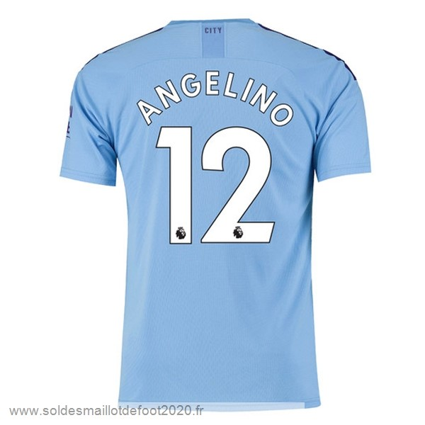 Maillot France Foot NO.12 Angelino Domicile Maillot Manchester City 2019 2020 Bleu
