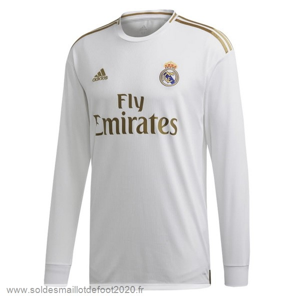 Maillot France Foot Domicile Manches Longues Real Madrid 2019 2020 Blanc